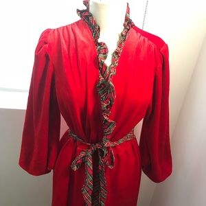 Other - Vintage Red Velvet Robe/Duster with Plaid trim